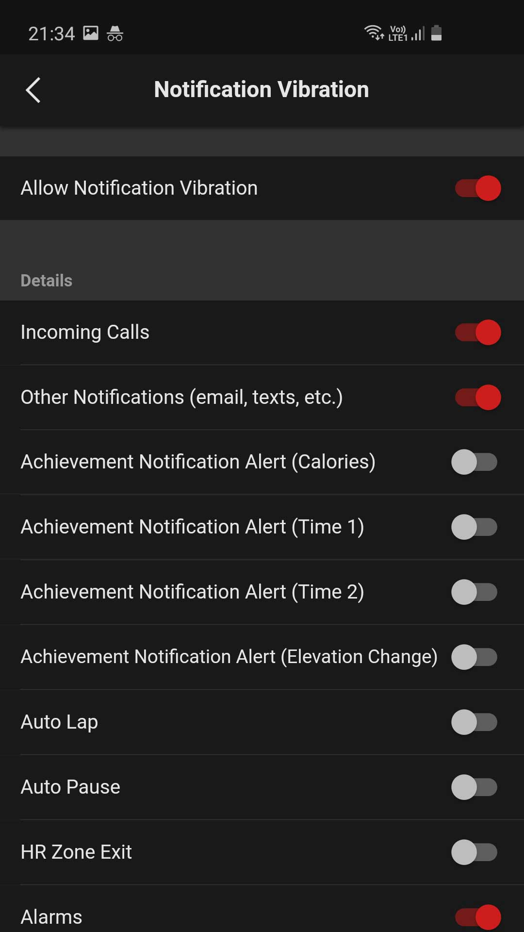 G-SHOCK MOVE Notification Vibration menu