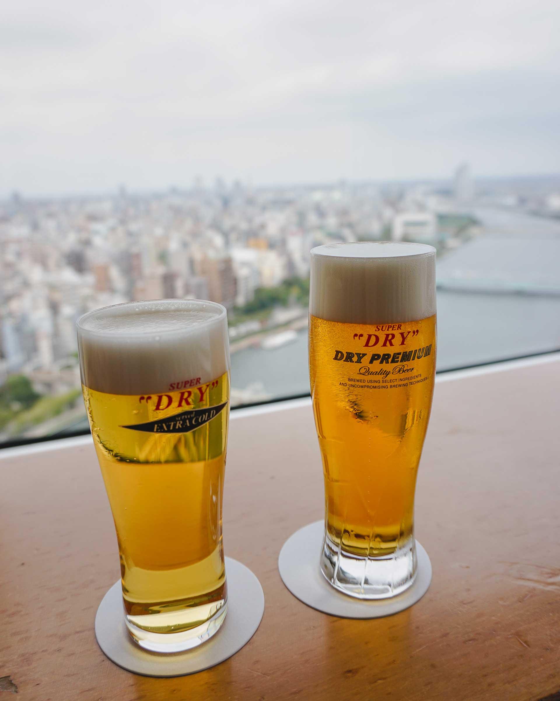 Two glasses of Asahi beer