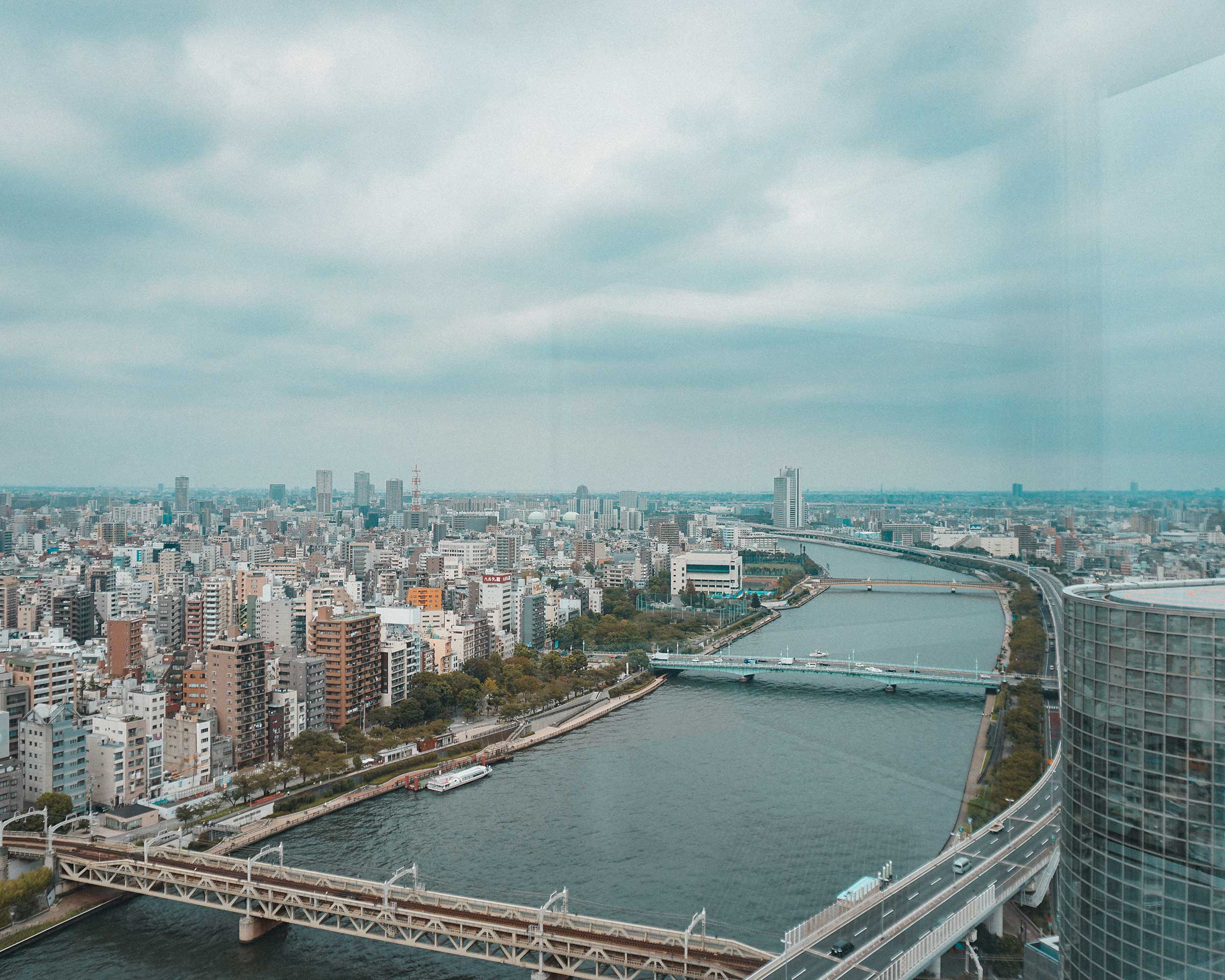 Overlooking Sumida River and the city
