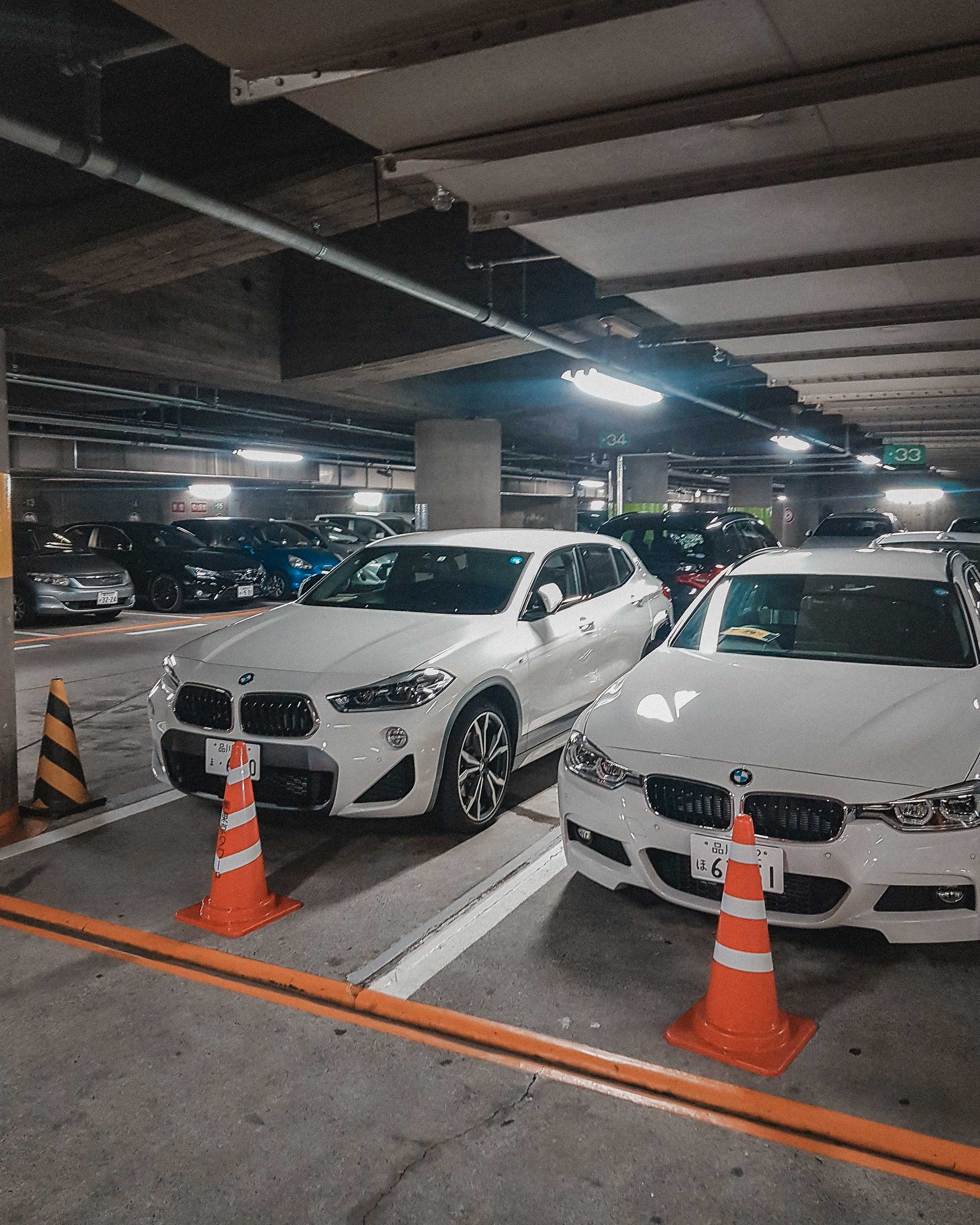 Parking lot with BMWs