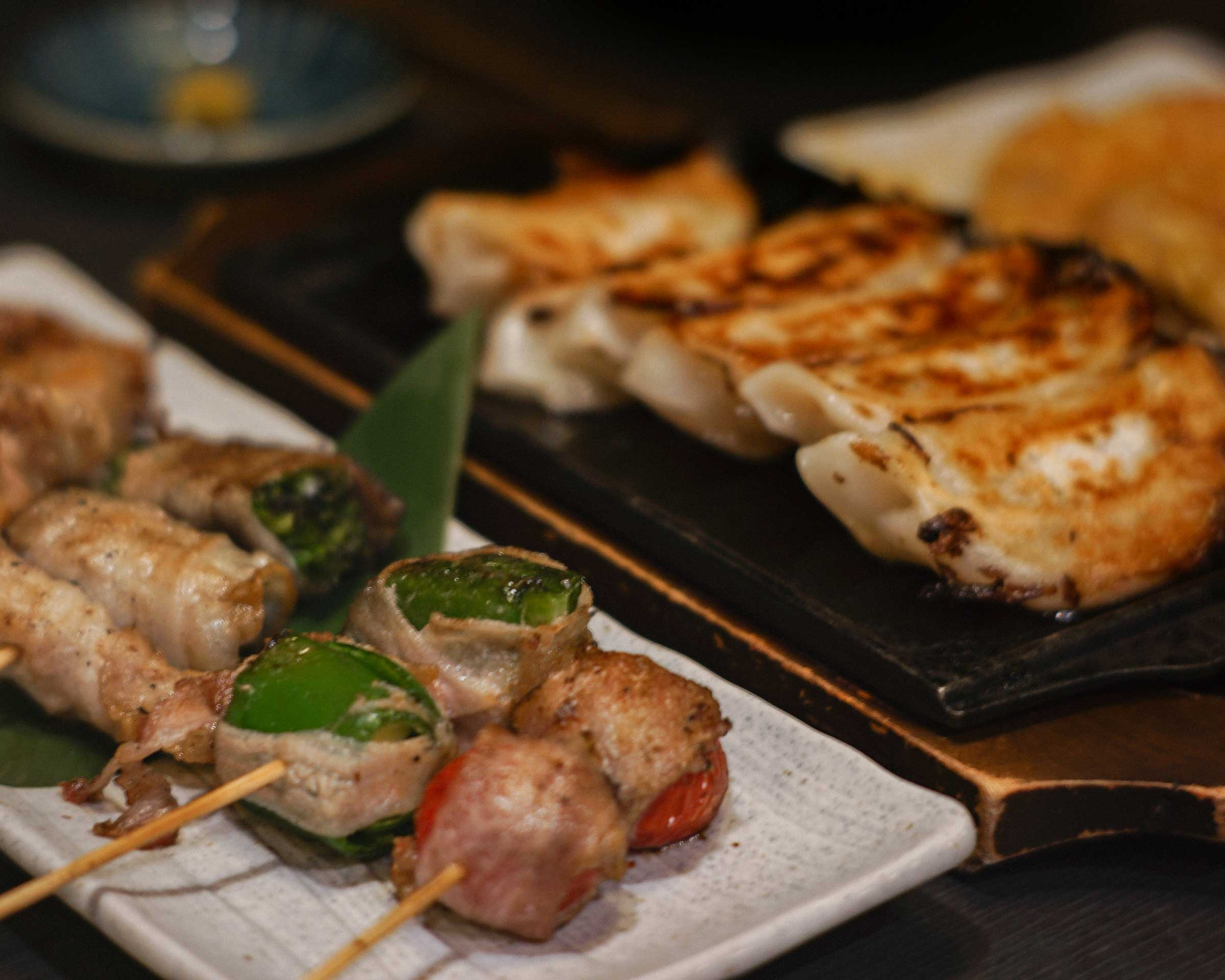 Grilled skewers and gyoza we ordered in the izakaya