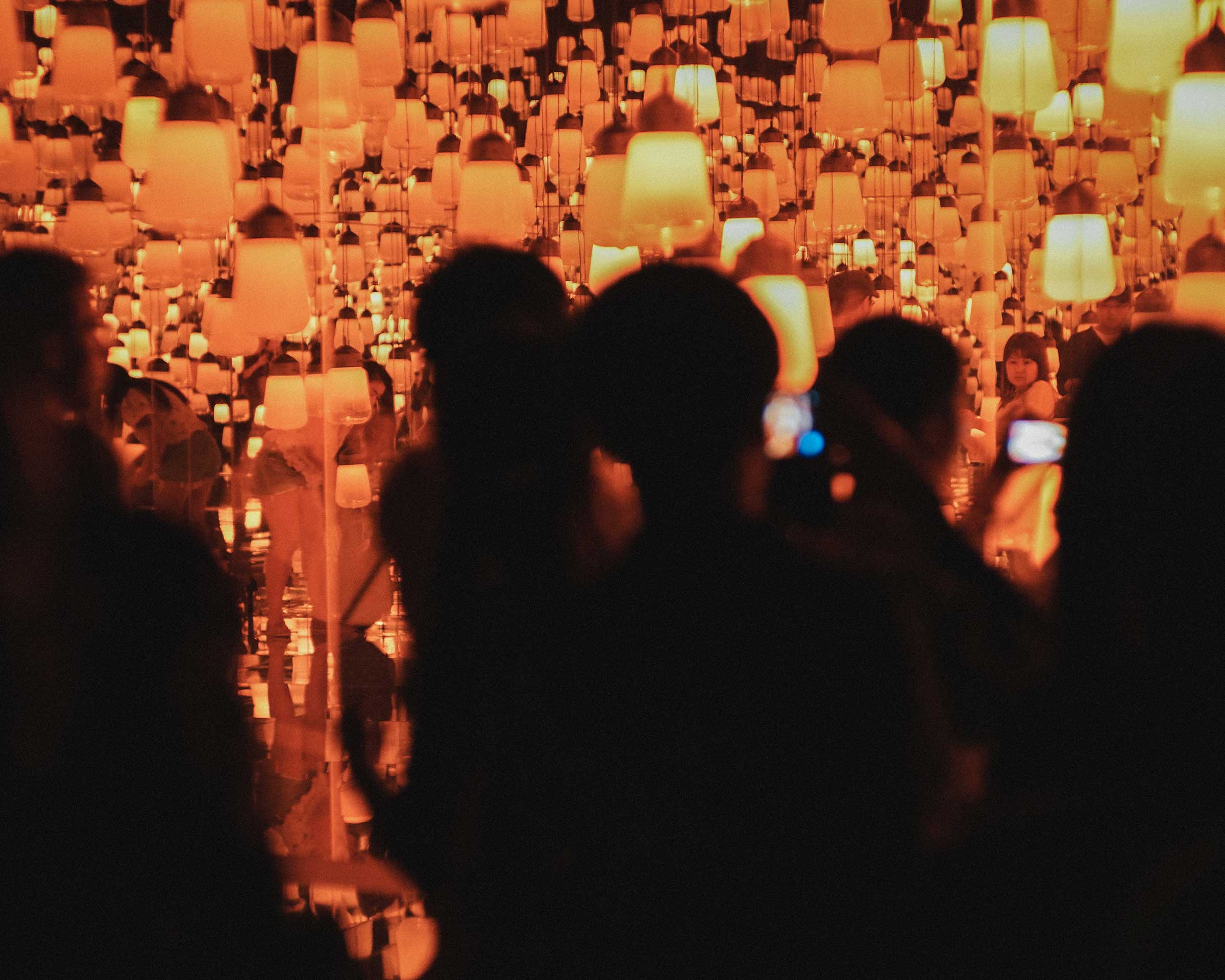 View from outside of Forest of Resonating Lamps at teamLab Borderless, Tokyo