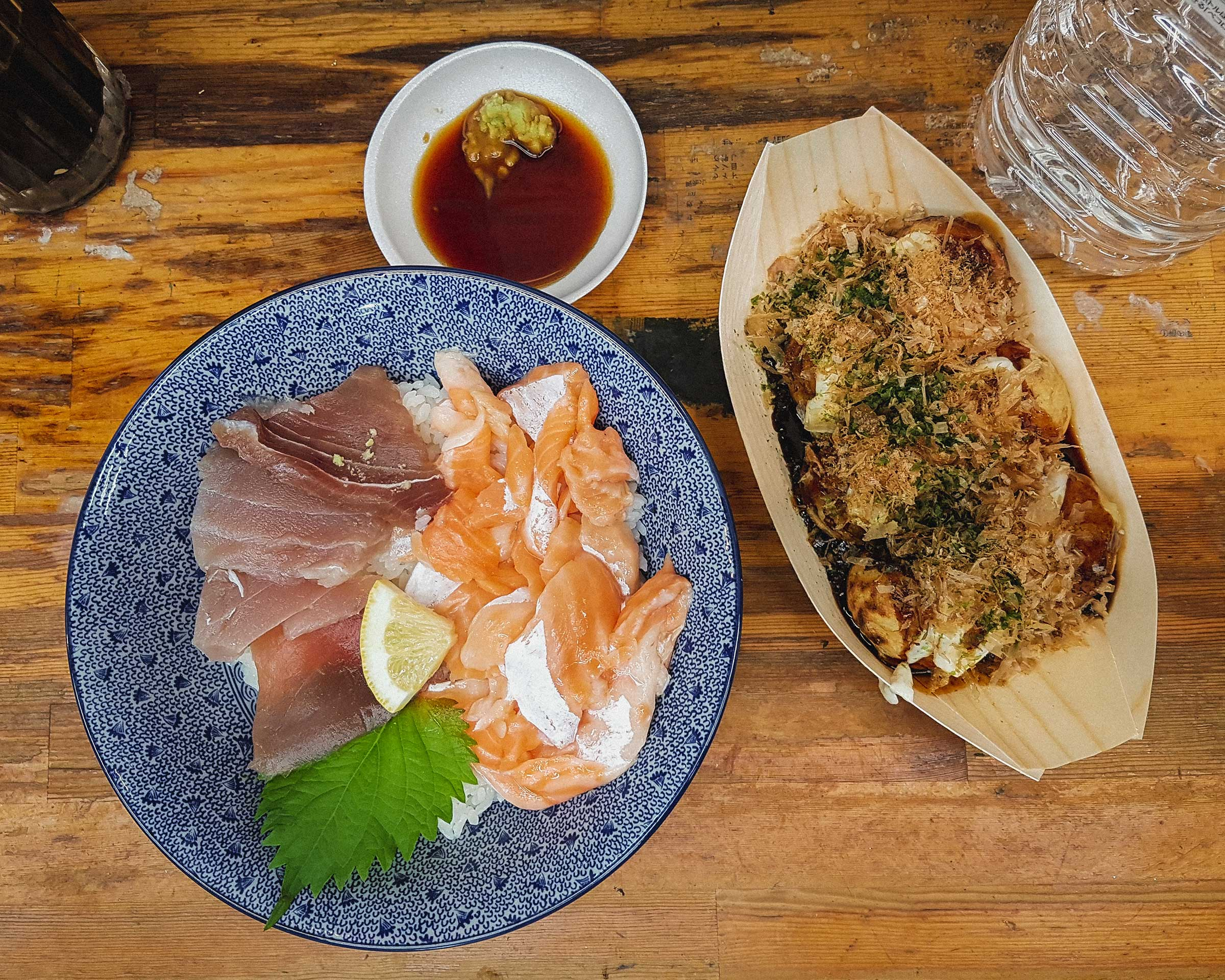 Tuna and Salmon Donburi 500 yen ($4.65) + Takoyaki 300 yen ($2.79)