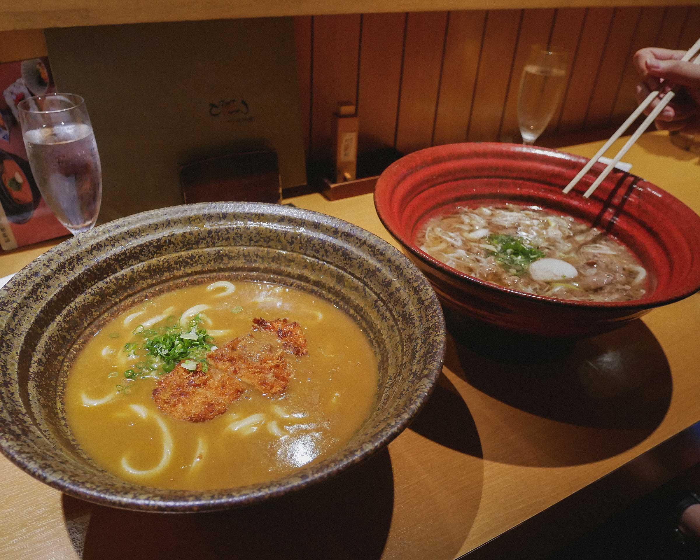 Our order of udon bowls at Tsuru Ton Tan